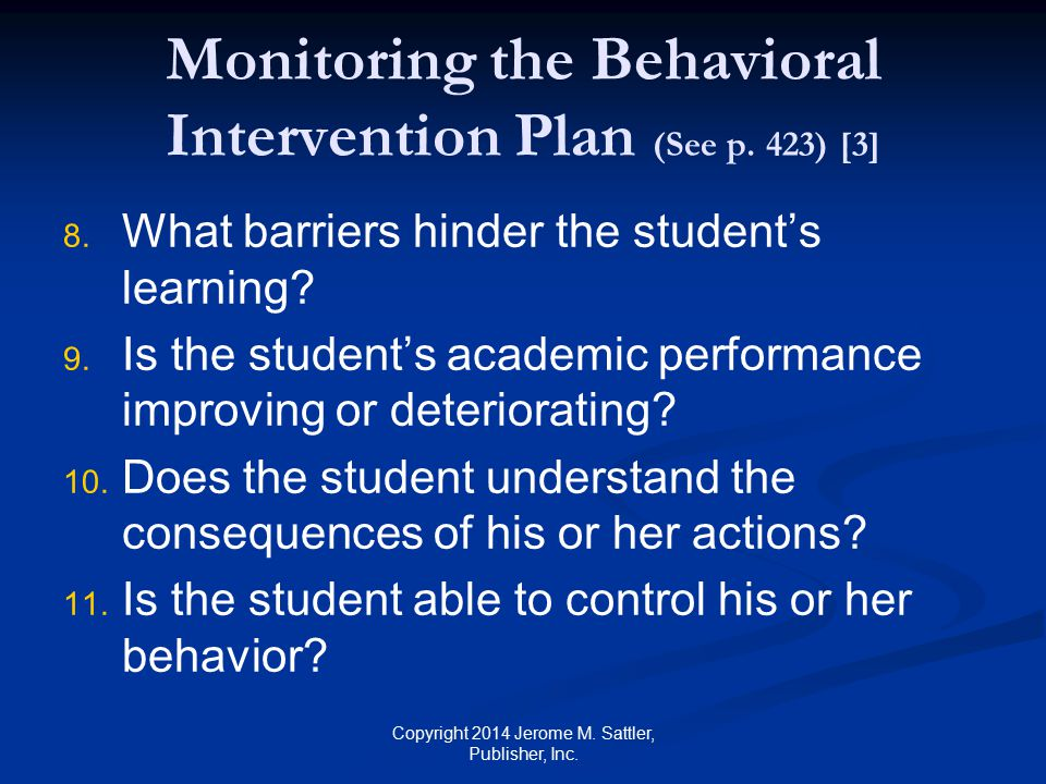 Monitoring the Behavioral Intervention Plan (See p. 423) [3]